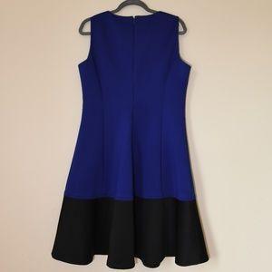 Cute scuba fit and flare color block dress